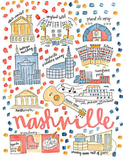 Nashville Tn Map Print