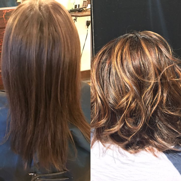 Gorgeous before and after on virgin hair creating pure dimension by Balayage in high lights and Lowlights pumpkin spice hair color using Schwarzkopf by #NSLH at Adorn Salon and Boutique in Downtown Asheville cinnamon hair color