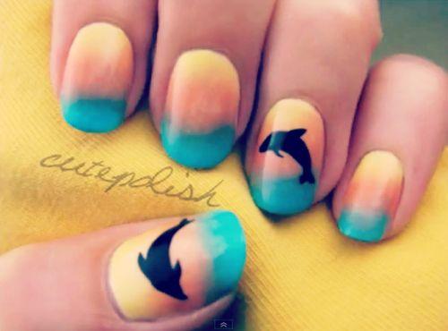 Dolphin nail art for summer holidays