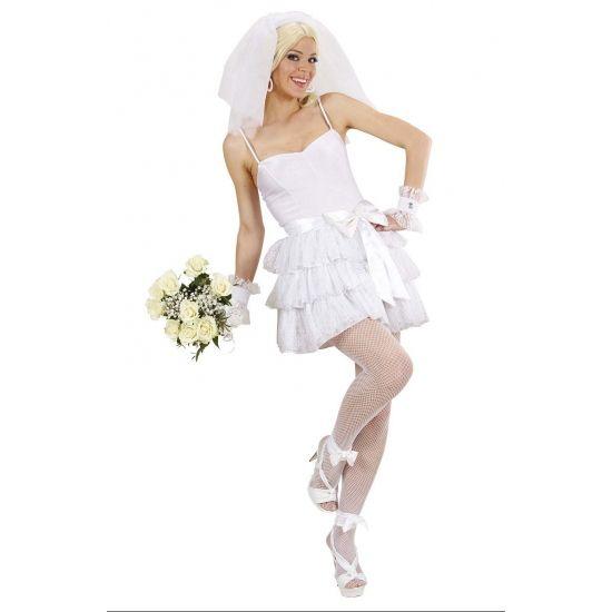 Sexy bruidskostuum voor dames. Dit luxe carnavalsoutfit voor de bruid bestaat uit een jurkje, riem, manchetten en een tiara met sluier. Materiaal: 100% polyester.