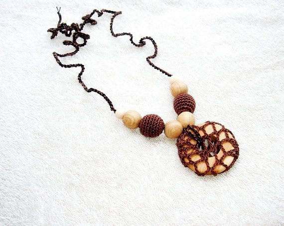 Brown Teething necklace Baby Teether Gift from MiracleFromThreads  by DaWanda.com