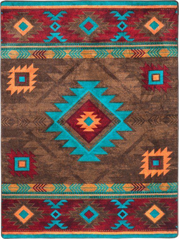 Native American Style Rug Native American Style Area Rug Etsy Native American Rugs Southwest Rugs Southwestern Rug