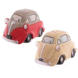 Ceramic Bubble Car Salt & Pepper Set by puck. $7.56. Ceramic Bubble Car Salt & Pepper SetThis Bubble Car item is ceramic and has been finished in a bright cartoon style.Each Bubble Car Salt & Pepper Set is priced and sold as a set and comes packaged in a card box.Please note at certain times due to low or uneven stock not all designs may be available.This item is not suitable for use in the microwave or dishwasher.
