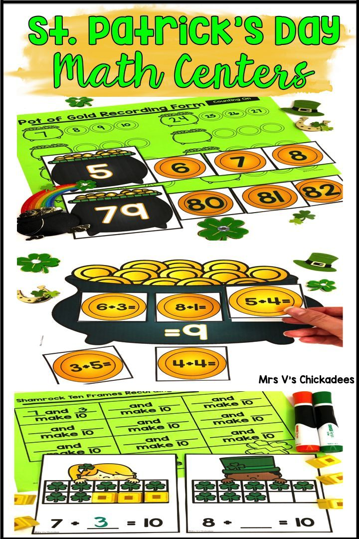 St Patrick's Day math games for kindergarten or 1st grade. Practice common core aligned skills such as counting on, making 10 and addition with these fun learning activities
