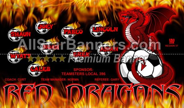 Red Dragons soccer banner idea from AllStarBanners.com We do soccer banners, baseball banners, softball banners, football banners and team banners for any sport.