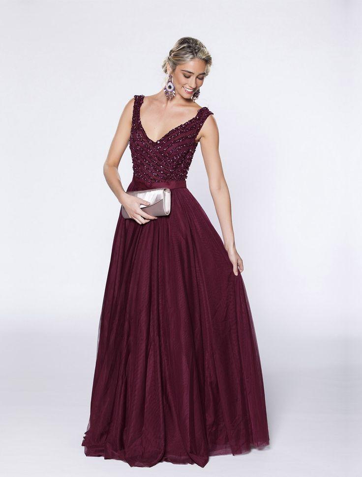Lange 'A-lijn' jurk met buste met parelwerk en tulen rok - 100% polyester