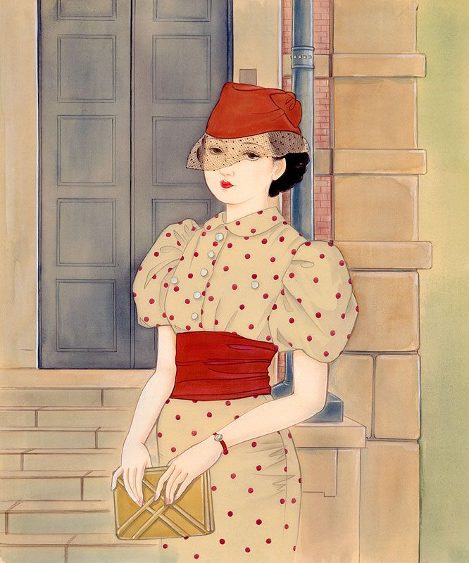 女性イラスト 大正ろまん レトロ 水玉の服の女性 [Kisho Tsukuda]