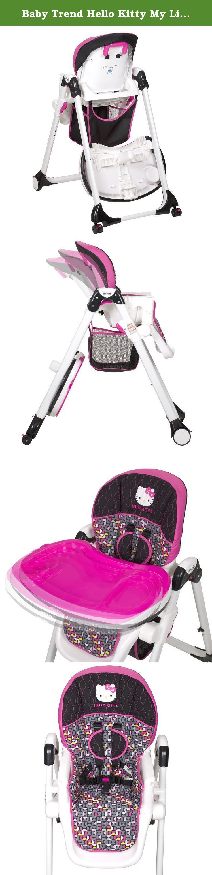 Baby Trend Hello Kitty My Lift High Chair, Pinwheel. The Baby Trend My lift High Chair - Hello Kitty Pin Wheel, FEATURES include: 3-position seat recline, 6-position height adjustment, 5-point safety harness, Dishwasher safe serving tray, Compact free-standing fold, Tray storage, Large castor wheels with brakes, Easy wipe-clean/washable seat pad, and Large oval tubing.