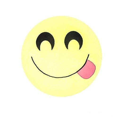 14x14 Yellow Girls Smiling Tongue Emoji Theme Throw Pillow Cute Fun Smiley Face Sofa Pillow Pretty Silly Happy Love Funny Emotions Emojis Soft Cushion