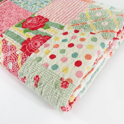 Patchwork quilt = cheery colors!