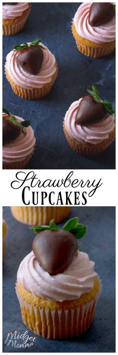 Strawberry Cupcakes made with Real Strawberries are the perfect strawberry cupcakes. Made with real strawberries and a perfect light and airy cupcake. #cupcake #strawberry #chocolate