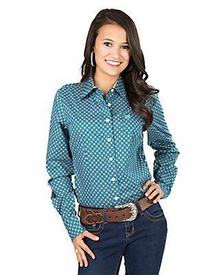 Cinch Ladies Teal Mini Print Long Sleeve Western Shirt