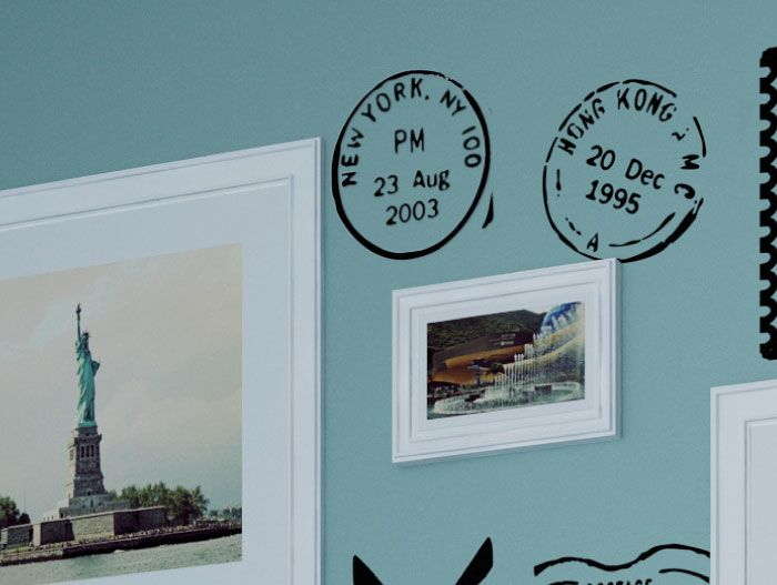 Travel Postmark wall decals Customizable city and date Very realistic
