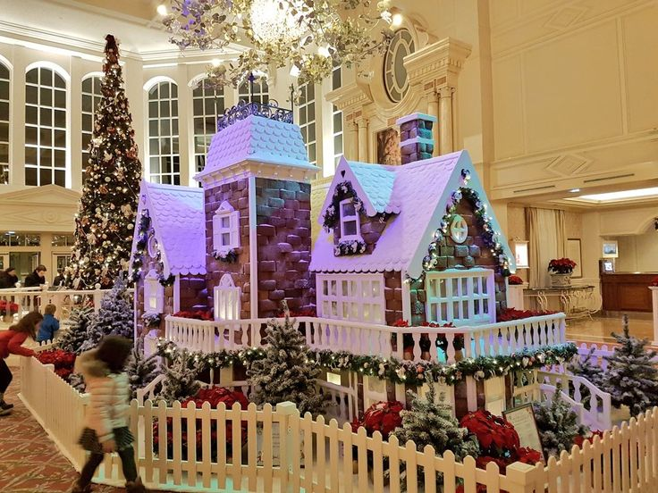 Christmas gingerbread house in the Disneyland Hotel lobby in Paris DLP 2016