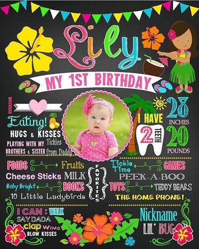 Printable first birthday poster sign milestone banner girl luau summer