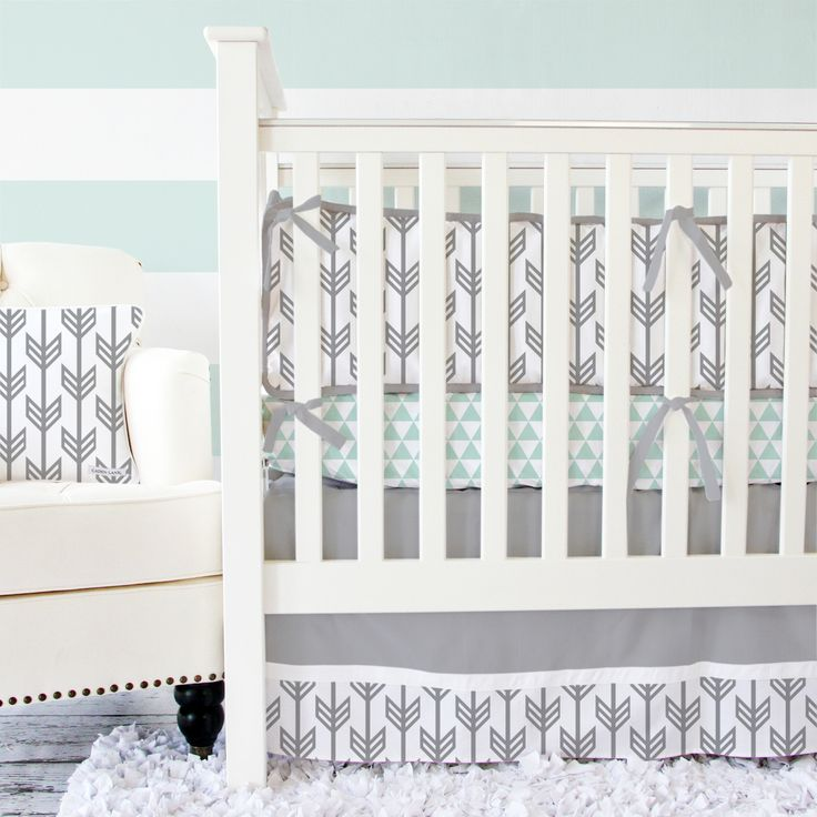 Gray arrow baby bedding with a hint of mint - perfect for a gender neutral nursery and right on trend!