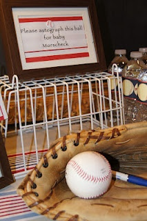Lady's Makes and Bakes: A Vintage Baseball-Themed Baby Shower! Have guests autograph a baseball for the Little Man's room!