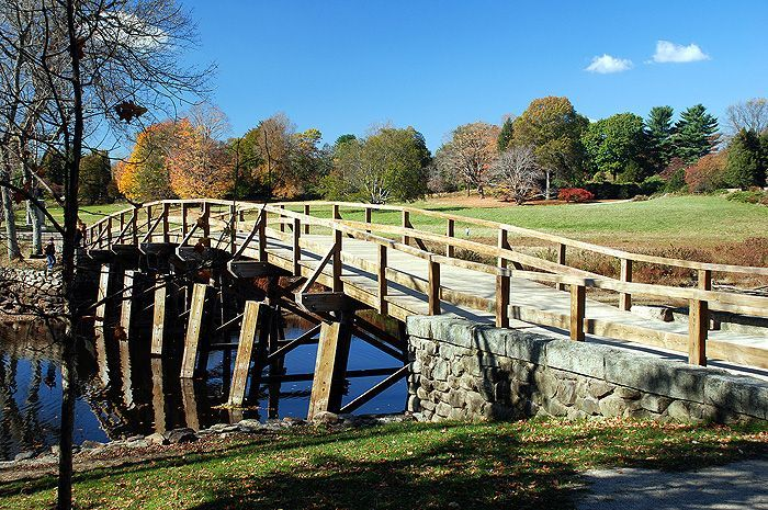 """North Bridge where """"the shot heard 'round the world"""" that started the American Revolution happened. Lexington and Concord, Massachusetts."""