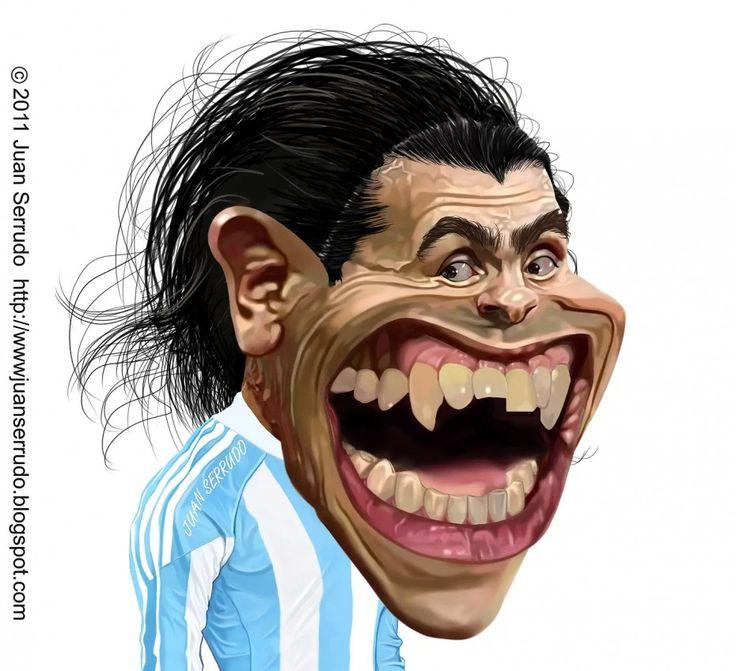 Caricatura de Carlos Tévez.