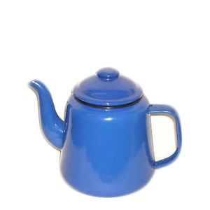 Falcon Enamel Tea Pot Blue 12cm. Sturdy enamel tableware range, for all occasions. Vitreous double coated enamel. Free Delivery on orders over £50.00.