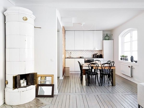 A Swedish kitchen complete with kakelugn and bistro style chairs, try the fabhttp://www.designcollectors.com/EN/product/1645/214/ for similar!