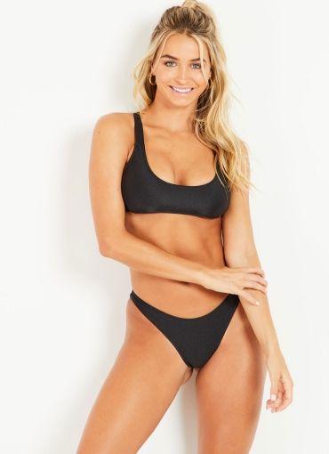 Cross Back Surf Bikini Top - Black