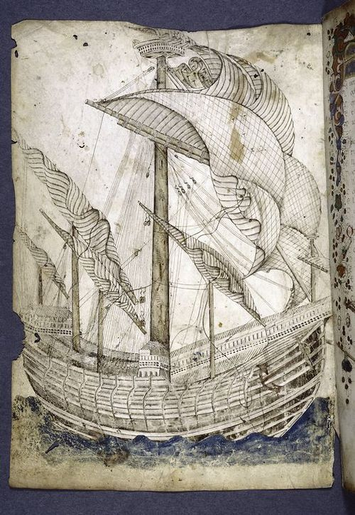 Pretty medieval manuscript of the day is another ship.   The book dates from the fifteenth century and is by Gregorio Dati.  Image source: New York Public Library, Spencer Collection MS MA 110. Image believed to be in the public domain.