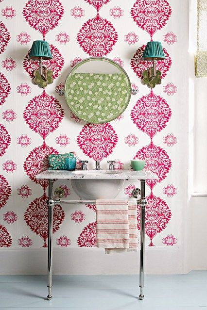 Best 25+ Bathroom wallpaper red ideas on Pinterest | Bathroom ...