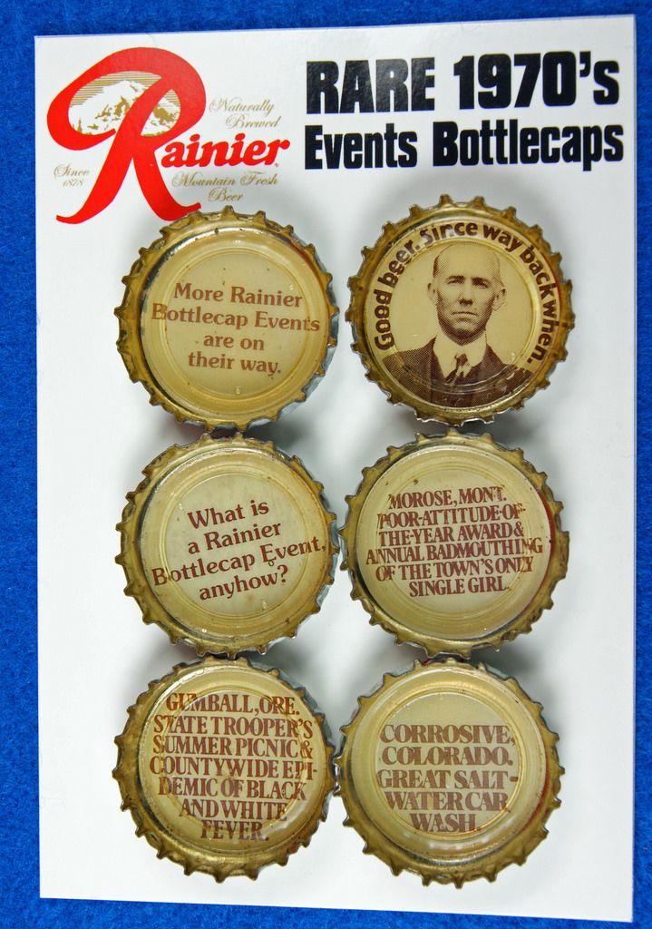 6 RARE & UNIQUE 1970's# Rainier #Beer Events #Bottlecaps - RD19318  To see the Price and Detailed Description you can find this item in our Vintage Advertising Category on eBay: http://stores.ebay.com/tincanalley1/Vintage-Advertising-/_i.html?_fsub=19469218018  RD19318