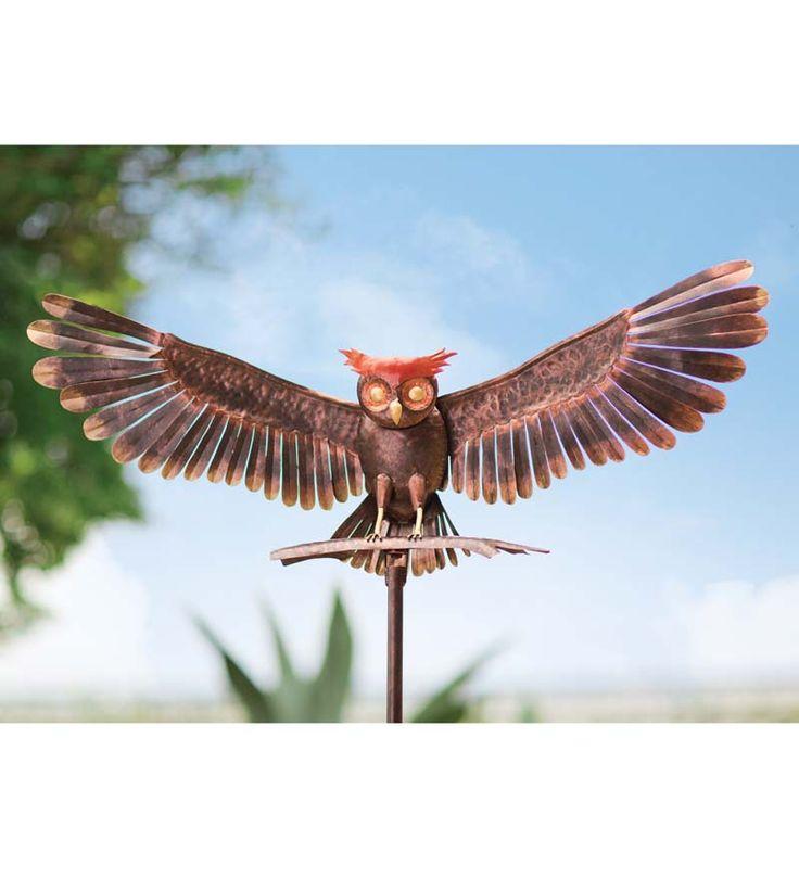 Bronze Owl Metal Yard Sculpture Wind Spinners