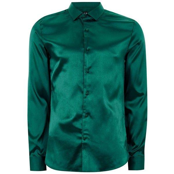Men/'s Silk Shirt Metallic Design Long Sleeve Green Color