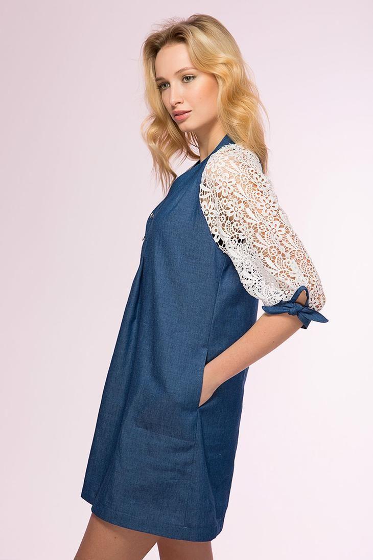 43e141d968a 70 стильных идей с джинсовым платьем  ТОП лучших фасонов сезона ...