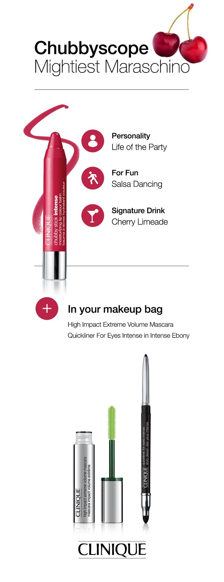 What does your favourite Chubby Stick say about you? Like a horoscope, there's a Chubbyscope for every personality. #Clinique #ChubbyStick #MightiestMaraschino