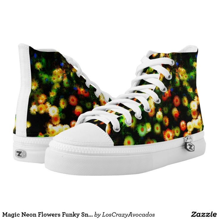 Magic Neon Flowers Funky Sneakers