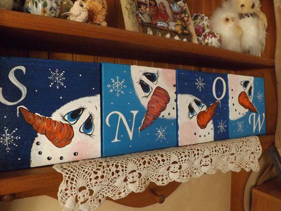 Set of 4 Canvas Snowmen SNOW Wall Art/ Hand by UPCYCLEDDREAMS, $34.98
