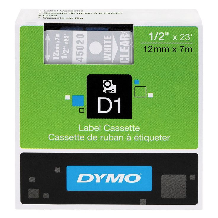 Dymo D1 Standard Tape Cartridge for Dymo Label Makers, 1/2in x 23ft, White on Clear