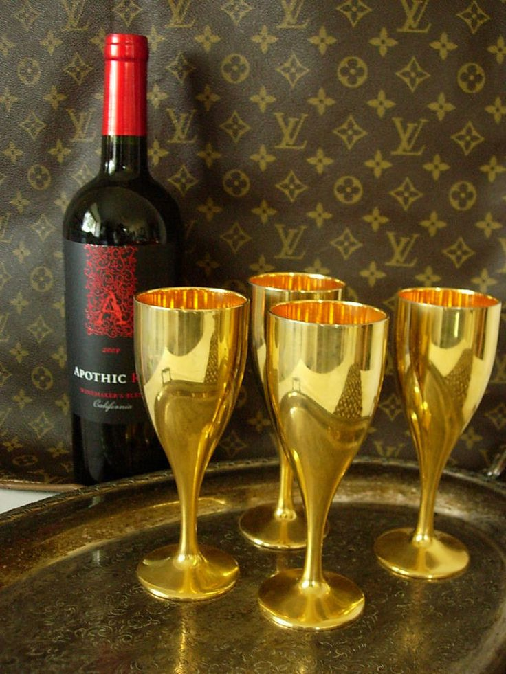 RARE Vintage GUCCI Gold Metal Wine Glasses Barware Set GG ...