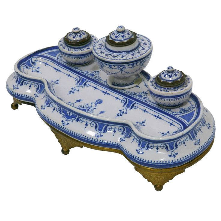 Early 19th Century French Faience Inkwell | From a unique collection of antique and modern desk accessories at https://www.1stdibs.com/furniture/decorative-objects/desk-accessories/