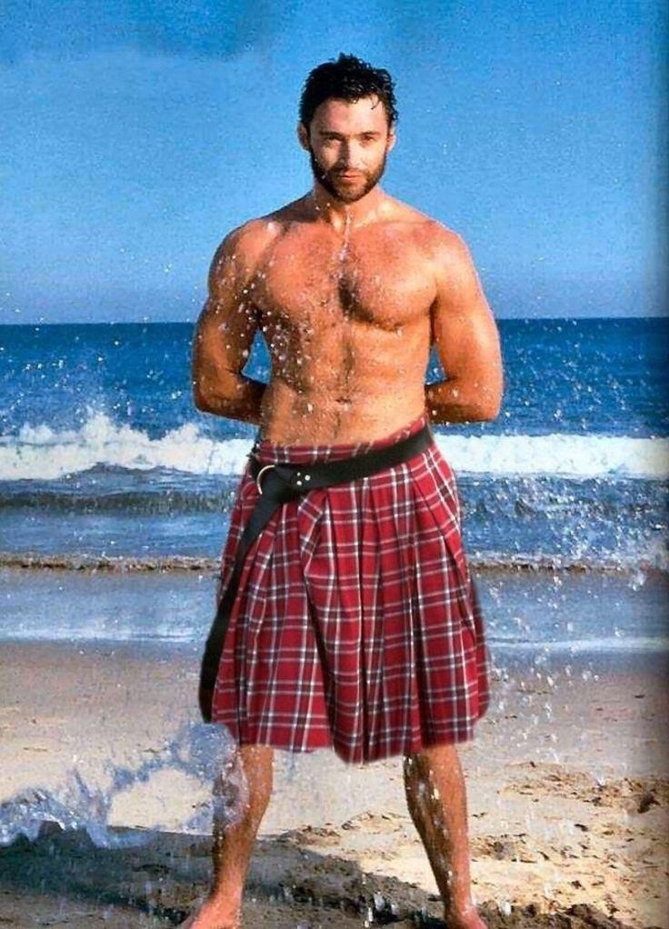 Hugh Jackman on a beach in a kilt, your welcome