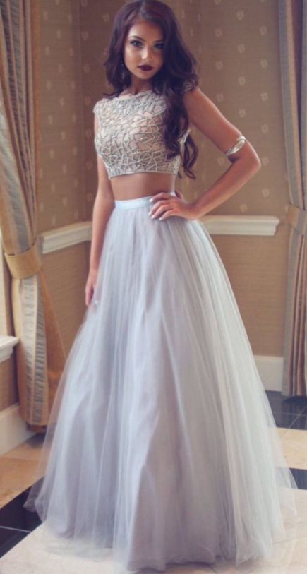 Two Piece Prom Dresses, White Prom Dresses, Long Prom Dresses, Prom Dresses Long, Beaded Prom Dresses, Prom Long Dresses, White Long Prom Dresses, Prom Dresses White, Two Piece Dresses, Long White dresses, White Long Dresses, Sleeveless Prom Dresses, Beaded/Beading Prom Dresses, Floor-length Prom Dresses