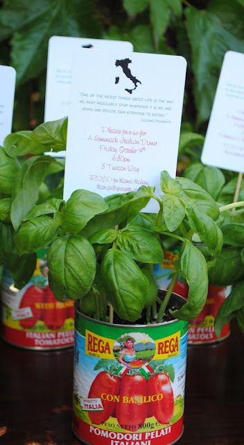 Mama Mia! An Authentic Italian Dinner: Invitations presented in tomato tins with fresh basil plants.