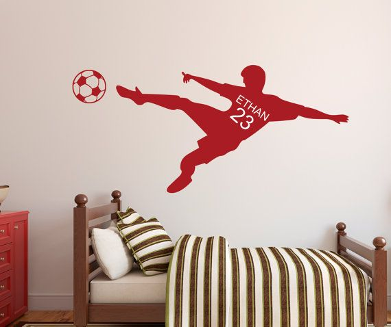 Soccer Wall Decal  Personalized Name Wall Decal & Number