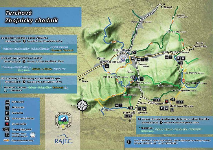 Mapa a trasy Tiesňavy a Terchová
