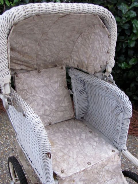 victorian baby strollers | Antique Vtg White Wicker Victorian Baby Buggy Stroller Pram