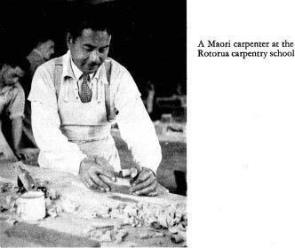 Depicts a man at the Rotorua Carpentry School ca1958