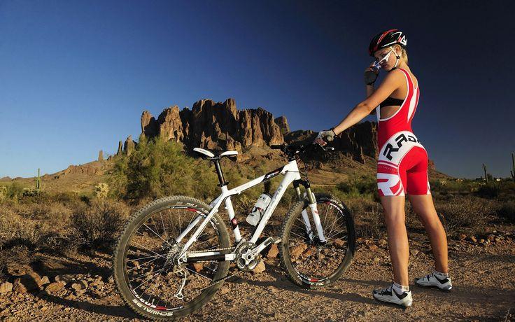 bicycle mountain bike with girl hd image