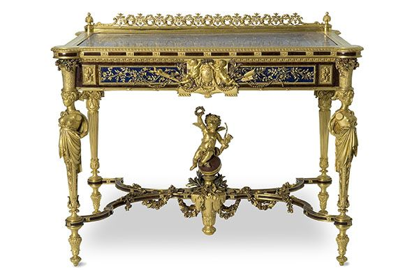 World's Fair of 1867 Christofle et Cie, sculptures by Carrier-Belleuse and Joseph Cheret, Toilet Table of Gustave Pereire, 1867, Museum of Decorative Arts, Paris.