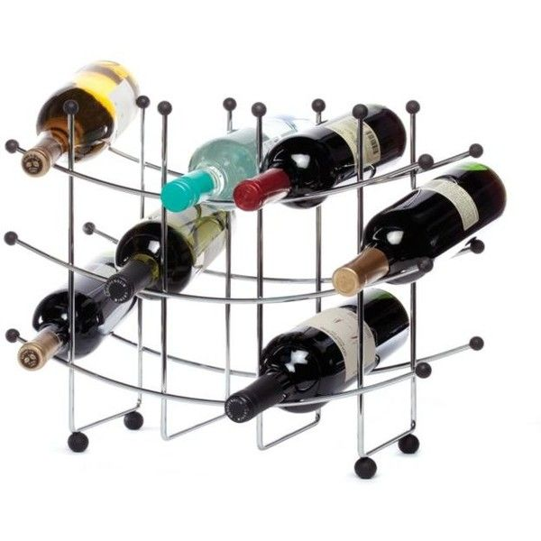 Oenophilia Chrome Fusion 15-Bottle Wine Rack ($34) ❤ liked on Polyvore featuring home, kitchen & dining, bar tools, chrome, modern wine rack, chrome wine rack and chrome rack