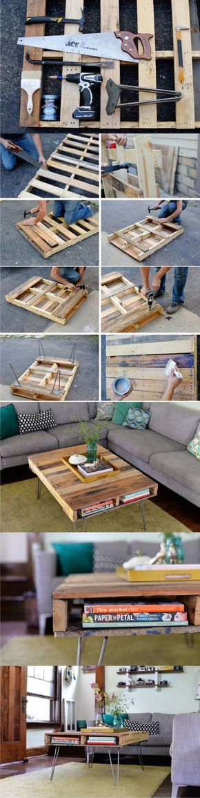 DIY: wooden pallet coffee table. For more cool home DIY ideas, visit our Pinterest board at: https://www.pinterest.com/makerskit/home-sweet-home-diy/