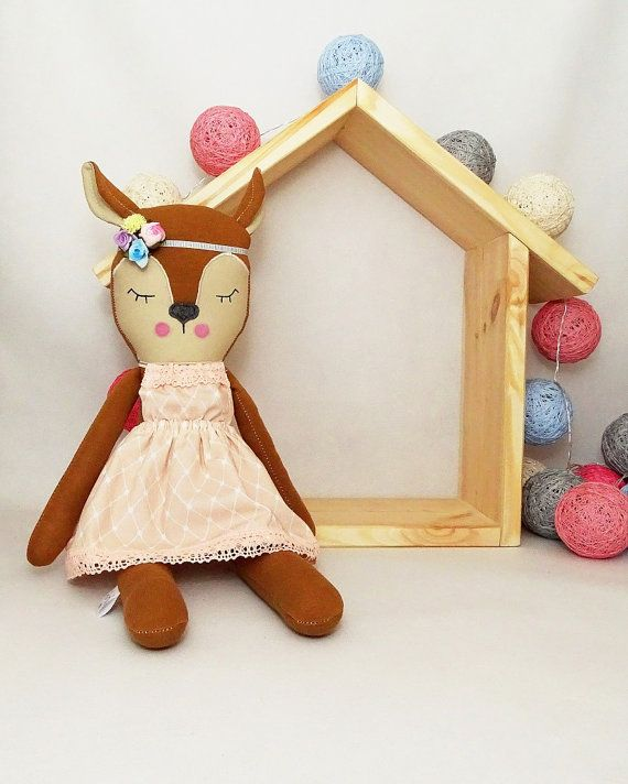 MiMiu deer soft toy with removable outfit. Roe deer toy & decoration